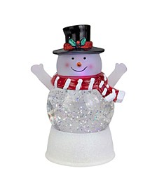 LED Lighted Snowman with Holly and Berries Top Hat Blowing Glitter Christmas Water Globe