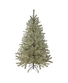 Unlit Medium Sheer Champagne Tinsel Artificial Christmas Tree