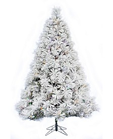 6.5' Prelit Atka Pine Flocked Christmas Tree with 450 LED Lights