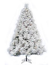6.5' Prelit Atka Pine Flocked Christmas Tree with 450 LED Lights