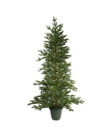 Unlit Potted Noble Pine Slim Artificial Christmas Tree