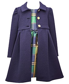 Baby Girls Navy Coatset With Matching Taffeta Plaid Dress