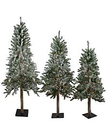 Pre-Lit Slim Flocked Alpine Artificial Christmas Trees