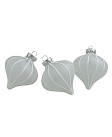 Count Clear and Matte Frosted Glitter Stripes Glass Christmas Onion Drop Ornaments