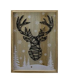 Reindeer with Snowflakes and Trees Lighted Wooden Christmas Plaque