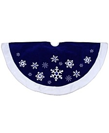 Velveteen Snowflake Christmas Tree Skirt with Faux Fur Trim
