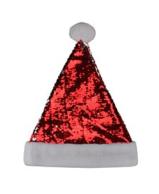 Reversible Sequined Christmas Santa Hat with Faux Fur Cuff