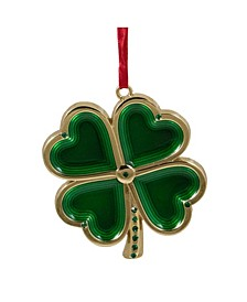 Luck of The Irish Clover with Crystals Christmas Ornament