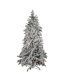 Pre-Lit Flocked Dunton Spruce Slim Artificial Christmas Tree-Multi Lights