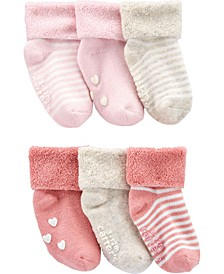 Baby Girl 6-Pack Cuff Booties