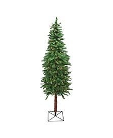 Pre-Lit Slim Two-Tone Alpine Artificial Christmas Tree