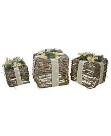 LED Rattan Christmas Gi Boxes with Pine Cones