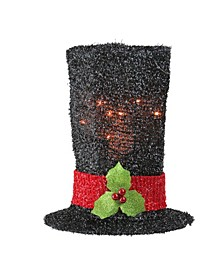 Lighted Tinsel Snowman Top Hat Christmas Tree Topper