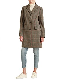 Petite Houndstooth 3-Button Walker Coat, Created For Macy's