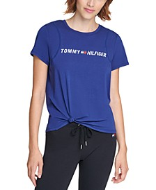 Side-Knot Logo Print T-Shirt