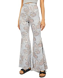 Just Float On Flared Paisley-Print Jeans