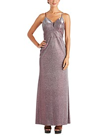 Juniors' Shimmer Cross-Back Gown