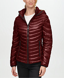 Calvin Klein Shine Hooded Packable Down Puffer Coat, Created for Macy's