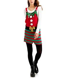 Juniors' Elf Sleeveless Holiday Sweater Romper