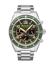 Men's Fleuss Chrono Silver-Tone Stainless Steel Bracelet Watch 43mm