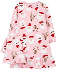 Big Girl  Christmas Matching Nightgown & Doll Nightgown Set