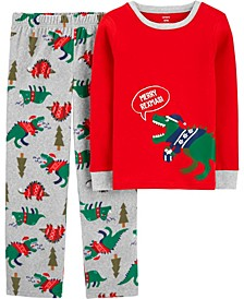 Big Boy2-Piece Dinosaur Christmas Fleece PJs