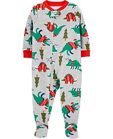 Toddler Boy 1-Piece Dinosaur Fleece Footie PJs