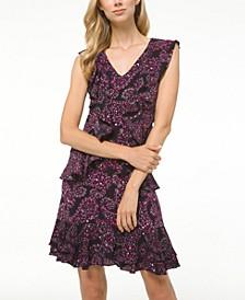 Petite Floral Paisley-Print Cascade Dress
