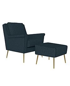 Boston Mid Century Modern Chair and Ottoman Set