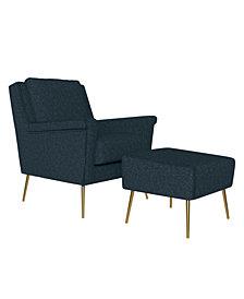 Handy Living Boston Mid Century Modern Chair and Ottoman Set