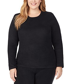 Plus Size Fleecewear With Stretch Crewneck Top
