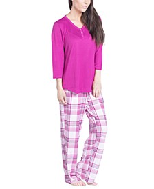 Solid Long-Sleeve T-Shirt & Printed Pants Pajama Set