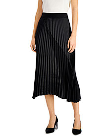Alfani Mixed-Media Pleated Skirt, Created for Macy's