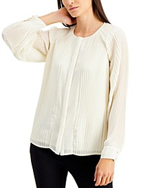 Plus Size Raglan-Sleeve Pleated Top, Created for Macy's