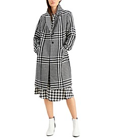 Long Houndstooth-Print Coat, Created for Macy's