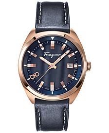 Men's Swiss Evolution Blue Calf Leather Strap Watch 40mm