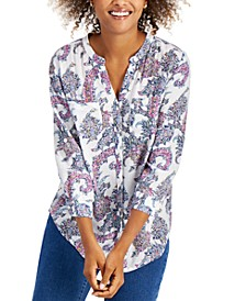 Printed Split-Neck Shirt, Created for Macy's