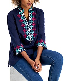 Cotton Embroidered 3/4-Sleeve Top, Created for Macy's