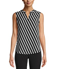 Sleeveless Striped Split-Neck Top