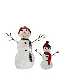 Lighted 3D Tinsel Snowman Family Christmas Yard Art Decoration, Set of 2