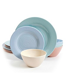 Brist Pastels 12 Piece Melamine Dinnerware Set