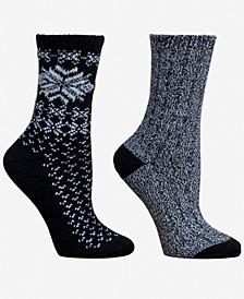 Women's 2-Pk. Snowflake Boot Crew Socks