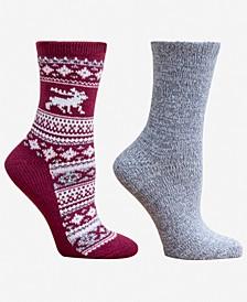 Women's Reindeer Fair Isle 2pk Boot Socks