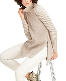 INC Zipper-Trim Tunic Sweater, Created for Macy's