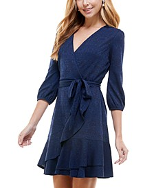 Juniors' Surplice Fit & Flare Dress