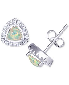 Simulated Opal & Cubic Zirconia Trillion Stud Earrings in Sterling Silver