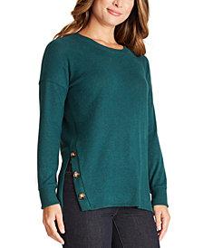 BCX Juniors' Button-Trimmed Tunic Sweater