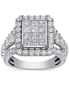 Diamond Princess Square Cluster Ring (3 ct. t.w.) in 14k White Gold