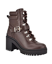 GUESS Women's Canaly Lug Sole Block Heel Combat Boots