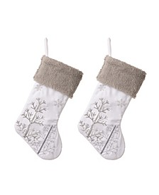 Fleece with Christmas Tree and Snowflake Stocking, Set of 2